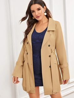 Dunacifa Womens Fashion Casual Long Sleeve Slim Office Blazer with Stand Collar Jacket Button Coat Outwear