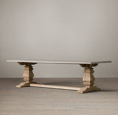 Salvaged Wood & Weathered Concrete Trestle Rectangular Dining Table