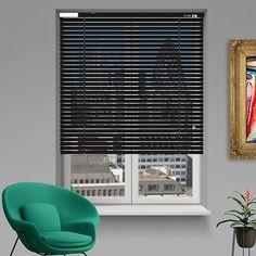 Controliss 6V DC battery Powered Soho Satin Black Venetian Blind. #Shades #Home #HomeDecor #InteriorDesign #Decor #VenetianBlinds  #CreateYourHome #BudgetBlinds #WindowShades #Window  #Design #Blind #WindowCoverings #Windows #MadeinUK