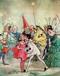 He flung his arm around the Princess - and kissed her! - The Magic Kiss by Christine Chaundler, 1916
