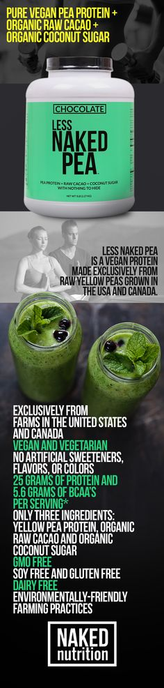 Less Naked Pea is a vegan protein made exclusively from raw yellow peas grown in the USA and Canada.