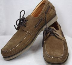 ET Wright Mens Venice Brown Nubuck Boat Shoes Size 13 NWB Italy #ETWright #BoatShoes