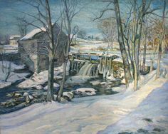 """Snow, Ice and Foam (The Bradbury Mill),"" Edward F. Rook, ca. 1912, oil on canvas, 40 x 50"", The Coolie Gallery."