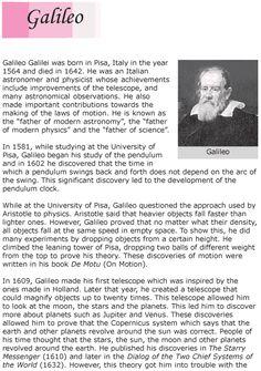 Grade 6 Reading Lesson 10 Biographies - Galileo (1)