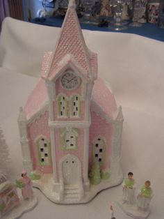 PINK CHIC SHABBY EASTER CHRISTMAS LARGE CHURCH VILLAGE HOUSE