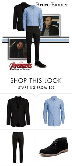 """Bruce Banner / The Hulk  - The Avengers : Age Of Ultron"" by gone-girl ❤ liked on Polyvore featuring Bertoni, Yves Saint Laurent, Hush Puppies, Marvel, men's fashion, menswear, marvel, brucebanner, thehulk and mcu"