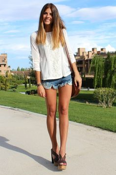 Love jean shorts with summer sweaters...now only if my legs could look that good....