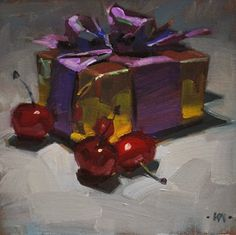 """Cherry Christmas - SOLD"" - Original Fine Art for Sale - © Carol Marine"