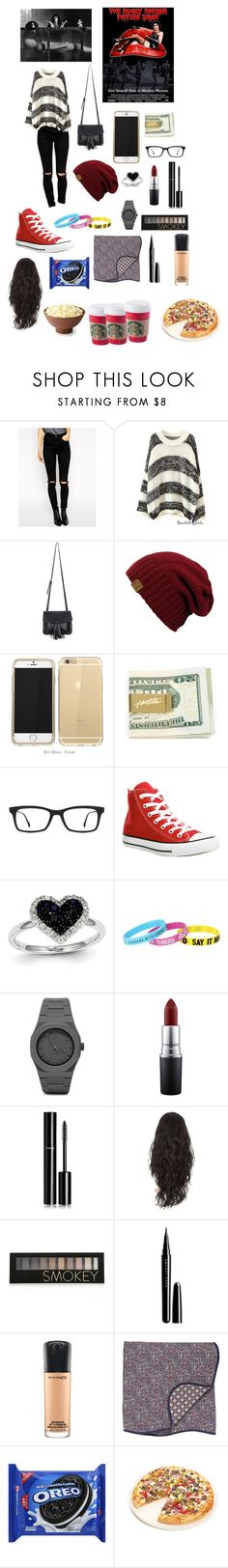 """""""Movie with My New Squad"""" by kathrynclifford on Polyvore featuring ASOS, Chicnova Fashion, Ray-Ban, Converse, Kevin Jewelers, CC, MAC Cosmetics, Chanel, Forever 21 and Marc Jacobs"""