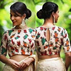 41 Striking boat neck blouse designs for sarees Blouse Back Neck Designs, Fancy Blouse Designs, Boat Neck Designs Blouses, Indian Blouse Designs, Choli Designs, Dress Designs, Kalamkari Blouse Designs, Cotton Saree Blouse Designs, Kalamkari Saree