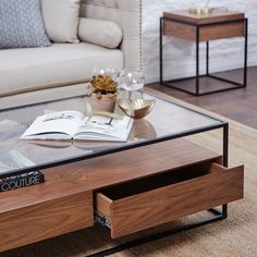 The Ashabi Coffee Table is expertly crafted with the finest solid walnut & is fast on it's way to being to being favourite! Furniture, Large Furniture, Walnut, Hidden Storage, Walnut Veneer, Table, Home Decor, Solid Walnut, Coffee Table