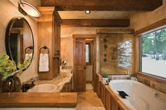 Log Home Bathrooms Log Cabin Bathrooms, Rustic Bathrooms, Dream Bathrooms, Beautiful Bathrooms, Master Bathrooms, Rustic Master Bathroom, Master Bathroom Plans, Cozy Bathroom, Bathroom Floor Plans