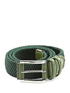 Sergio Gavazzeni - Cinture - Accessori - Cintura in pelle e corda intrecciata con fibbia silver. Altezza 3 cm. - VERDE - € 65.00