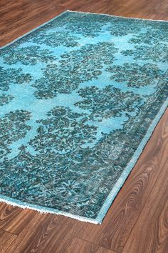 112x61 Inches Wool Carpet Rug Turquoise Color Rugs VINTAGE Turkish Woven Carpets Overdyed Rugs&Mats / 1017 on Etsy, $623.39 AUD