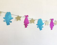 Rainbow Happy Birthday Trolls Banner  Princess Poppy Birthday
