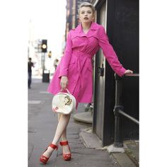 Vintage Pink Trench Coat ❤ liked on Polyvore featuring outerwear, coats, pink coat, vintage trench coat, vintage coat, retro coat and pink trenchcoat