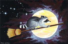 Print 4 x 6 Raccoon Moon Halloween Orion Stars Broom | eBay