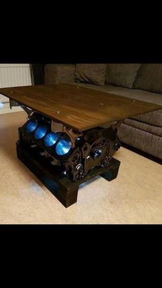 Car Part Furniture, Automotive Furniture, Automotive Decor, Car Part Art, Car Parts Decor, Steampunk Furniture, Metal Art Projects, Industrial Chair, Home Office Design