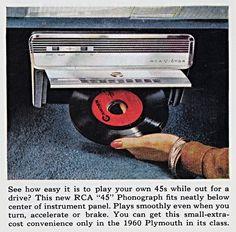 "1960 Plymouth RCA ""45"" Phonograph https://plus.google.com/+JohnPruittMotorCompanyMurrayville/posts"