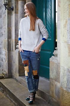 It's eye-opening what they can charge for a pair of jeans with patches on them. $158. Pilcro Premium Hyphen Patchwork Jeans #anthropologie  They also feature more equally expensive jeans with holes.