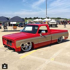 Hot Wheels - That sweet squarebody C10 in the build! @lonestarthrowdown with the Tag the owner igers. #chevrolet #gmc #c10 #AirSuspension #bagged #squarebody #raked #stance #layframe #streetrod #streetmachine #hotrod #lowfastfamous