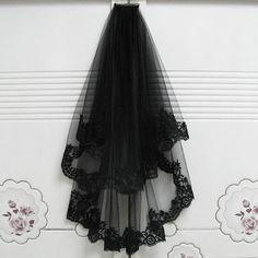 Black Wedding Dresses, Tulle Wedding, Wedding Veils, Black Veil Wedding, Birdcage Wedding, Bridal Veils, Dream Wedding, Trendy Wedding, Black Wedding Decor