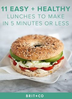 Bookmark these quick, easy + healthy lunch recipes to make for the work week or during your weekend at home. With these mid-day meal recipes, you can make dishes like Chickpea Lettuce Wraps, Spicy Asian Chicken Salad, Oven-Baked Tostadas, Egg + Vegetable Bagel Sandwich, Chicken Caprese Sandwich, Pear + Blue Cheese Flatbread, Turkey Tomato Panini, Caprese Avocado Salad, Sunny Side Up Avocado Toast, Chickpea Spinach Salad, Greek Yogurt Chicken Salad to give you a boost for the rest of the day.