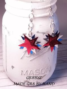 Foil Red Silver and Blue stars dangle earring casual to by gr8byz
