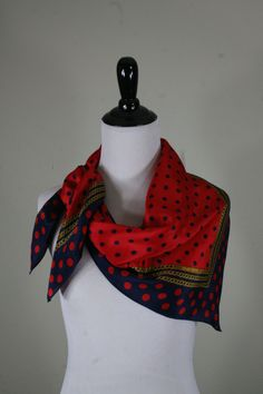 1980s Polka Dot and Chain Square Silk Scarf by Echo by YaYaRetro on Etsy
