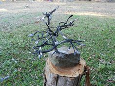 "My wife named this one, ""I shall not be moved"" after the gospel song.  The tree is forged from 6 pieces of crane cable."