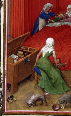 Chest with internal shelf and box. One would expect a panel chest in a household like this? Turin-Milan Hours, Netherlands ca. 1420. https://en.wikipedia.org/wiki/Turin-Milan_Hours