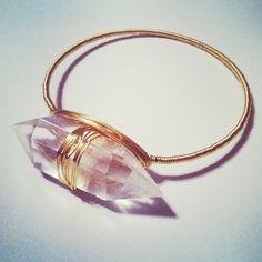 GageHuntley.com #quartz #crystal #gold #wire #wrapped #bangle #bracelet #unique #boho #oneofakind #gypsy #statement #jewelry #accessories