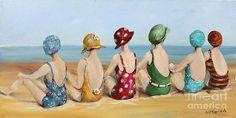 Beauties at The Beach Canvas Print / Canvas Art by Gail McCormack Beach Canvas, Beach Art, Canvas Art, Canvas Prints, Framed Prints, Art Plage, Watercolor Paintings, Original Paintings, Art Fantaisiste