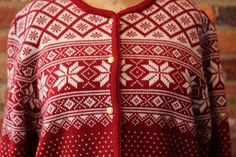 Red Ski Snowflake Nordic Fair Isle Cardigan Sweater Women's Size Med Liz Baker #LizBaker #Cardigan