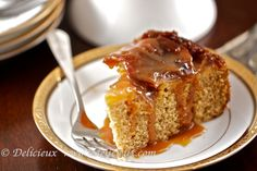Caramel Apple Cake - a delicious upside down caramel apple cake drizzled with caramel sauce.