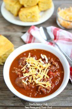 Dad's Spicy Chili-a family favorite! www.twopeasandtheirpod.com #recipe #chili