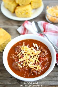 my favorite chili recipe to date! instead of the fresh jalapeños I used the diced tomatoes with jalapeños for half the cans it called for. just the right spice, delish!www.twopeasandtheirpod.com #recipe #chili