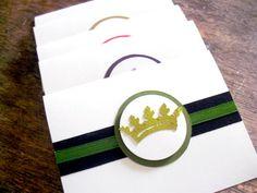 A Set of 6 Princess Crown/Tiara/Princess/Birthday Invite/Birthday Thank You Notecards/Note cards Handmade by Arleendesign