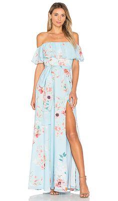 Blue Floral Off the Shoulder Maxi Dress   Fashionable Spring Guest of Wedding Dresses