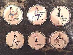 Santa Barbara Ceramic 6 Set Coasters Shop Cafe Glamour Cosmo Fashion Phone Girl   eBay