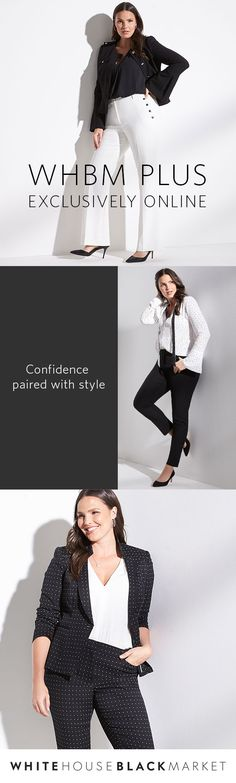 Have you heard the news? Our new WHBM Plus Collection is in! Make getting dressed effortless and easy with styles that are full of confidence. White Fashion, Curvy Fashion, Plus Size Fashion, Diva Fashion, Fashion Outfits, Spring Outfits, Winter Outfits, Plus Size Womens Clothing, Clothes For Women