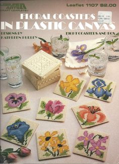 Floral Coasters In Plastic Canvas Leisure by KnitKnacksCreations