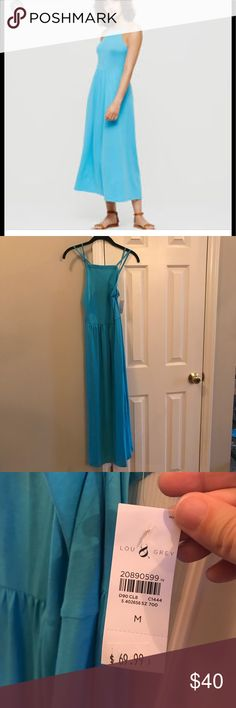 NEW WITH TAGS Lou & Grey maxi dress NWT gorgeous adjustable spaghetti strap maxi. Criss- crosses in back. Beautiful cyan sky blue. 64% polyester, 33% rayon, 3% spandex. Lou & Grey Dresses Maxi