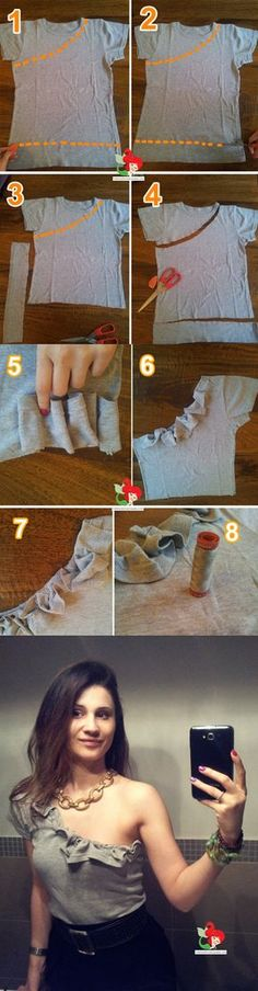Diy Ropa Reciclada Vestidos 47 Ideas For 2019 Diy Clothes Design, Diy Clothes And Shoes, Sewing Clothes, Diy Clothes Refashion, Shirt Refashion, Diy Shirt, Fashion Sewing, Diy Fashion, Diy Kleidung