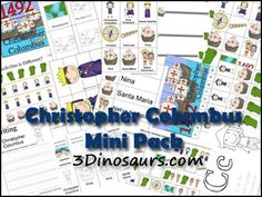 Christopher Columbus Mini Pack contains over 30 pages, for ages 2 to 7 by 3Dinosaurs.com