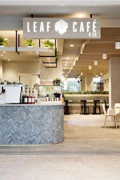 Leaf Cafe & Co - Mima Design - Creating Branded Retail + Hospitality Environments Cafe Interior Design, Cafe Design, Kiosk Design, Commercial Design, Commercial Interiors, Restaurant Design, Restaurant Bar, Café Bistro, Cafe Counter