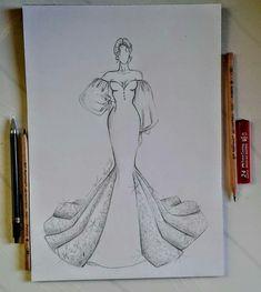Dress Design Drawing, Dress Design Sketches, Fashion Design Sketchbook, Girl Drawing Sketches, Art Drawings Sketches Simple, Fashion Design Drawings, Fashion Illustration Collage, Fashion Illustration Dresses, Illustration Sketches