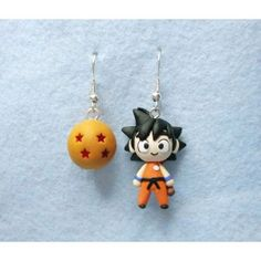 Goku and 4 Star Dragon Ball Earrings from Kawaii & Cute website ! Cute Polymer Clay, Polymer Clay Miniatures, Fimo Clay, Polymer Clay Charms, Polymer Clay Earrings, Clay Projects, Clay Crafts, Diy And Crafts, Dragon Ball