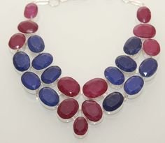 Stunning Statement Necklace With Red~Blue Aventurine. Starting at $1