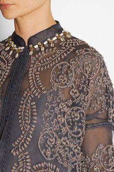Biyan Atalia embellished tulle and silk-organza dress Organza Dress, Silk Organza, Silk Chiffon, Lace Dress, Tulle, Pakistani Bridal Couture, Model Kebaya, Embroidery Fashion, Dressed To Kill